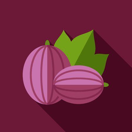 grosella: Grosella espinosa icono plana. frutas de bayas.