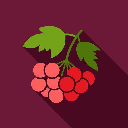 ashberry: Rowan branch flat icon. Berry fruit. Illustration
