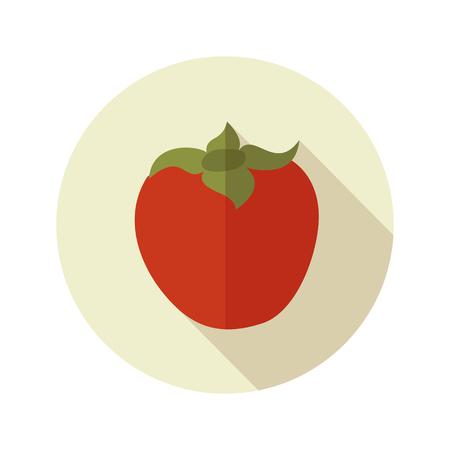 persimmon: Persimmon flat icon. Tropical fruit. Vector illustration, eps 10 Illustration