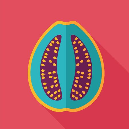 guava fruit: Guava flat icon. Tropical fruit. Vector illustration, eps 10 Illustration