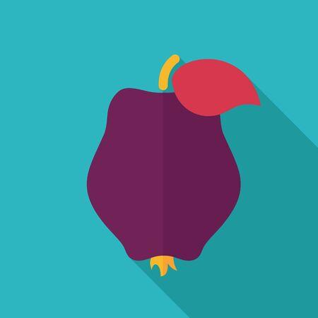membrillo: Membrillo icono plana. Fruta tropical. Ilustración del vector, EPS 10 Vectores