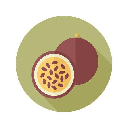 tropical fruit: Passionfruit flat icon. Tropical fruit.