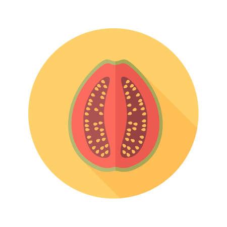 tropical fruit: Guava flat icon. Tropical fruit. Illustration