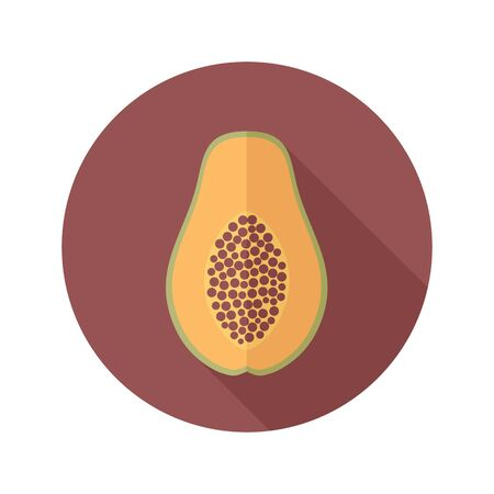 papaya: Papaya flat icon. Tropical fruit.