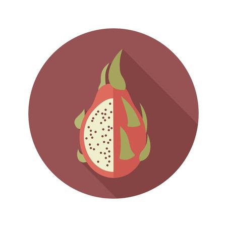 Pitaya flat icon. Tropical dragon fruit.