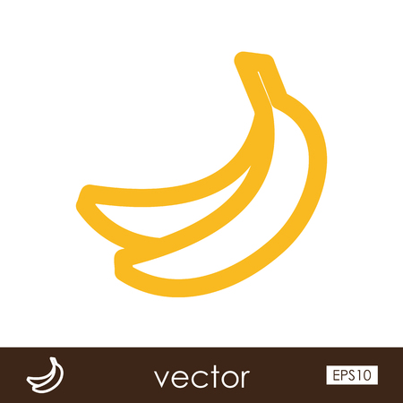 tropical fruit: Banana outline icon. Tropical fruit. Illustration