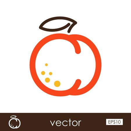 Peach outline icon. Fruit.
