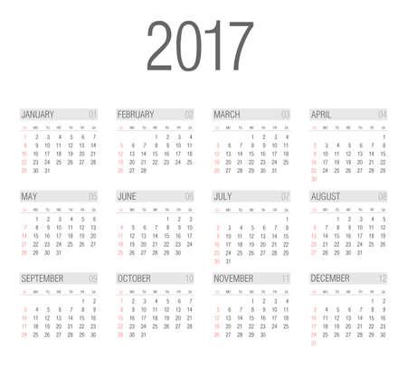 2017 year calendar