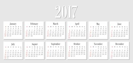 starts: Vector Simple 2017 year calendar. Week starts from Sunday
