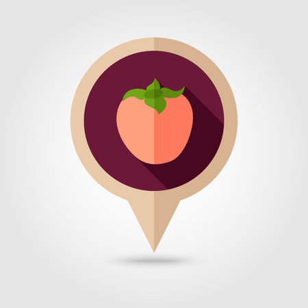 persimmon: Persimmon flat vector pin map icon. Map pointer. Map markers. Tropical fruit.