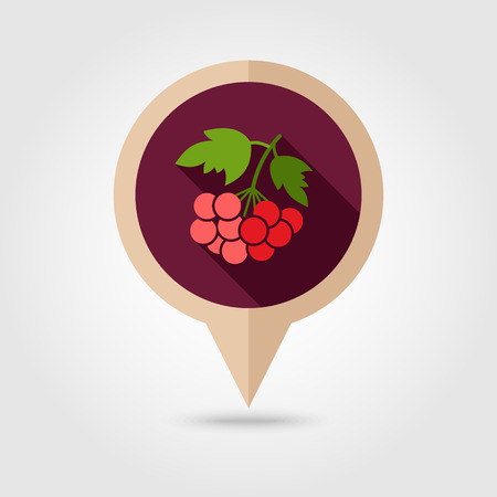 viburnum: Rowan branch flat vector pin map icon. Map pointer. Map markers. Berry fruit.