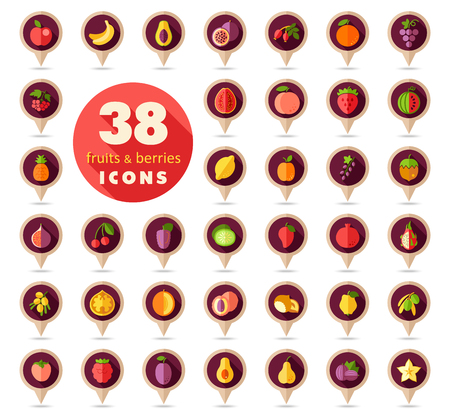 Set of Fruits and Berries pin map icon. Map pointer. Map markers.