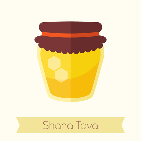 Jar of honey. Rosh Hashanah icon. Shana tova. Happy and sweet new year in Hebrew Illustration
