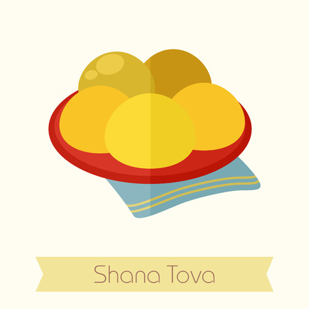 hebrew: Hanukkah doughnut. Traditional Jewish holiday food. Rosh Hashanah icon. Shana tova. Happy and sweet new year in Hebrew