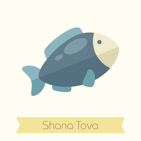 hashana: Fish. Rosh Hashanah icon. Shana tova. Happy and sweet new year in Hebrew Illustration