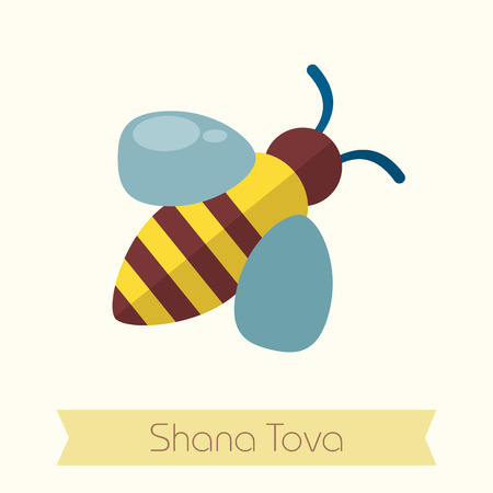 hebrew: Bee. Rosh Hashanah icon. Shana tova. Happy and sweet new year in Hebrew
