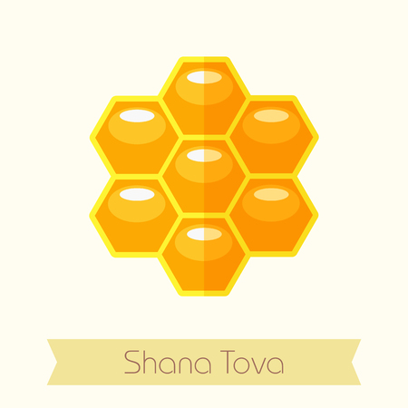 hebrew: Bee honeycomb. Honey. Rosh Hashanah icon. Shana tova. Happy and sweet new year in Hebrew