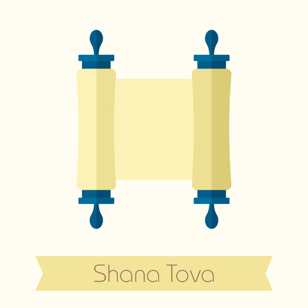 shana: Torah scroll. Rosh Hashanah icon. Shana tova. Happy and sweet new year in Hebrew