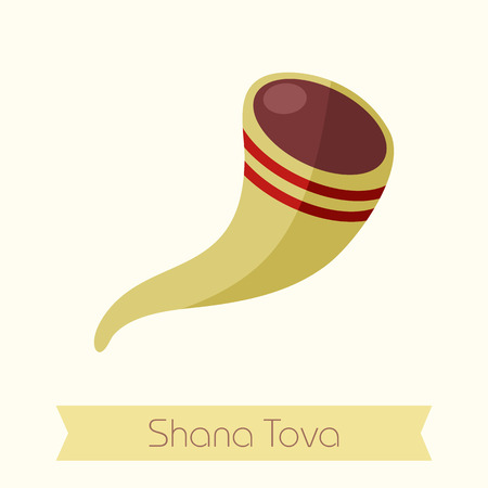 shofar: Shofar. Rosh Hashanah icon. Shana tova. Happy and sweet new year in Hebrew Illustration