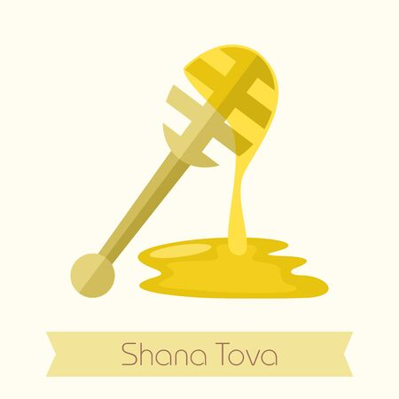 hebrew: Honey dipper. Rosh Hashanah icon. Shana tova. Happy and sweet new year in Hebrew