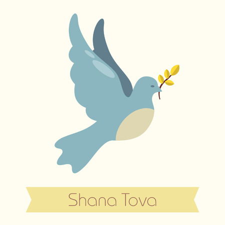 Dove. Rosh Hashanah icon. Shana tova. Happy and sweet new year in Hebrew Illustration