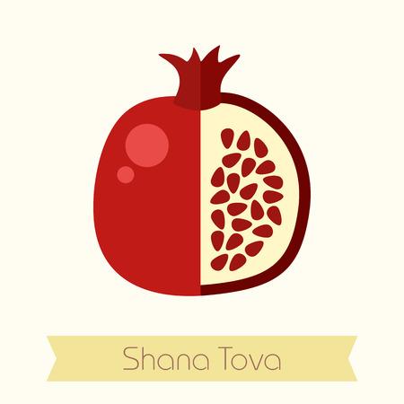 hebrew: Garnet. Rosh Hashanah icon. Shana tova. Happy and sweet new year in Hebrew Illustration