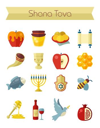 Rosh Hashanah, Shana Tova or Jewish New year flat vector icons set