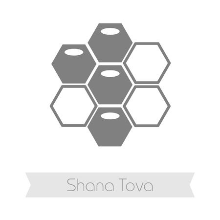 honeyed: Bee honeycomb. Honey. Rosh Hashanah icon. Shana tova. Happy and sweet new year in Hebrew