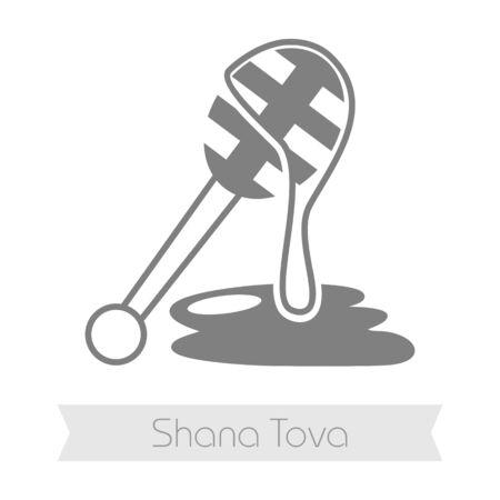 dipper: Honey dipper. Rosh Hashanah icon. Shana tova. Happy and sweet new year in Hebrew