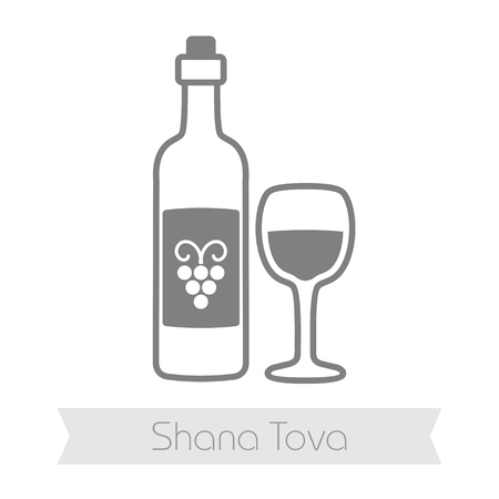 hebrew: Bottle of wine and glass. Rosh Hashanah icon. Shana tova. Happy and sweet new year in Hebrew