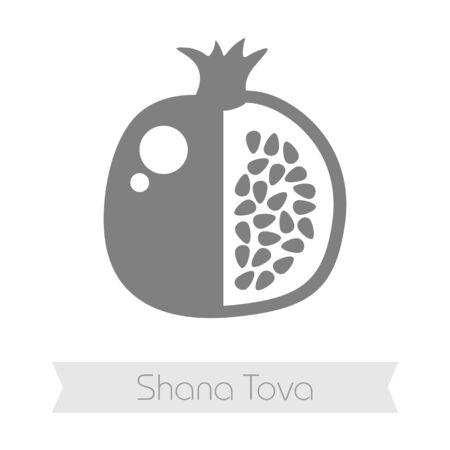 shana: Garnet. Rosh Hashanah icon. Shana tova. Happy and sweet new year in Hebrew Illustration