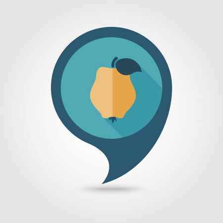 Quince flat vector pin map icon. Map pointer. Map markers. Tropical fruit.