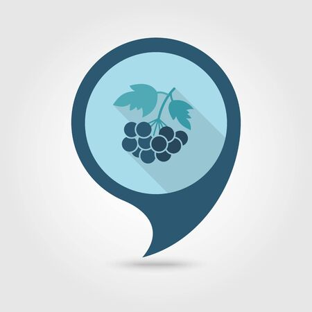 ashberry: Rowan branch flat vector pin map icon. Map pointer. Map markers. Berry fruit.
