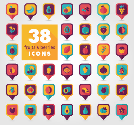 persimmon: Set of Fruits and Berries pin map icon. Map pointer. Map markers.