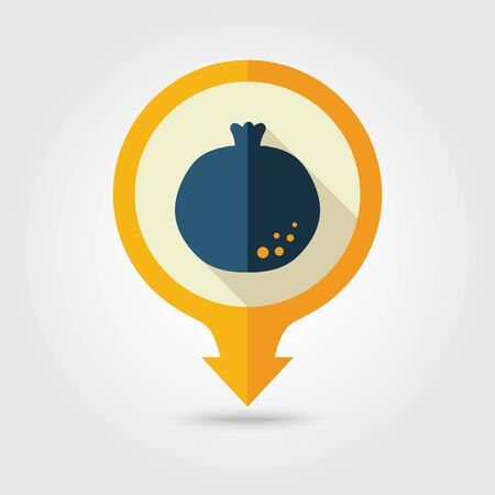 garnet: Garnet flat vector pin map icon. Map pointer. Map markers. Fruit. Illustration