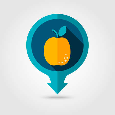 apricot: Apricot flat vector pin map icon. Map pointer. Map markers. Fruit.