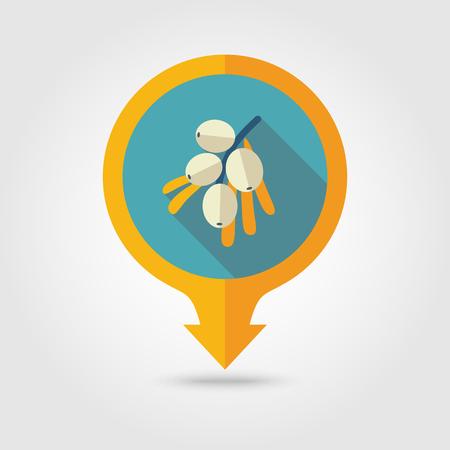 argousier: Branche de baies d'argousier vecteur plat pin carte icône. Carte pointeur. Carte des marqueurs. fruits Berry.