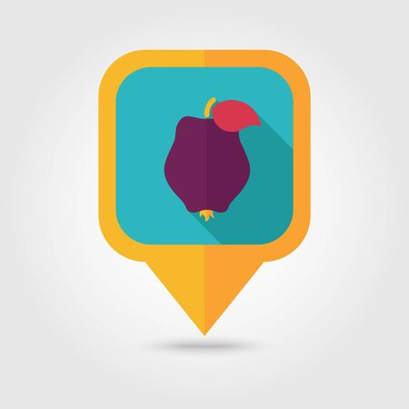 honeyed: Quince flat vector pin map icon. Map pointer. Map markers. Tropical fruit.