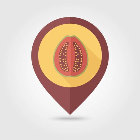guava fruit: Guava flat vector pin map icon. Map pointer. Map markers. Tropical fruit.