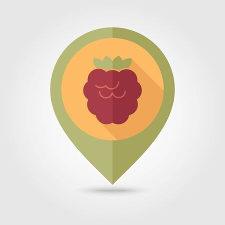 dewberry: Raspberry flat vector pin map icon. Map pointer. Map markers. Berry fruit. Illustration