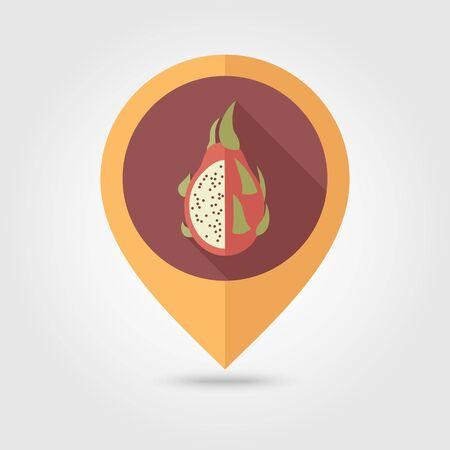 Pitaya flat vector pin map icon. Map pointer. Map markers. Tropical dragon fruit.