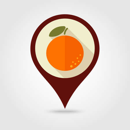 grapefruit juice: Orange flat vector pin map icon. Map pointer. Map markers. Tropical fruit.
