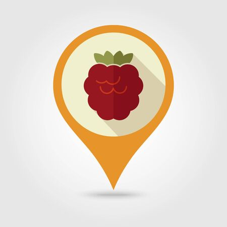 bramble: Raspberry flat vector pin map icon. Map pointer. Map markers. Berry fruit. Illustration