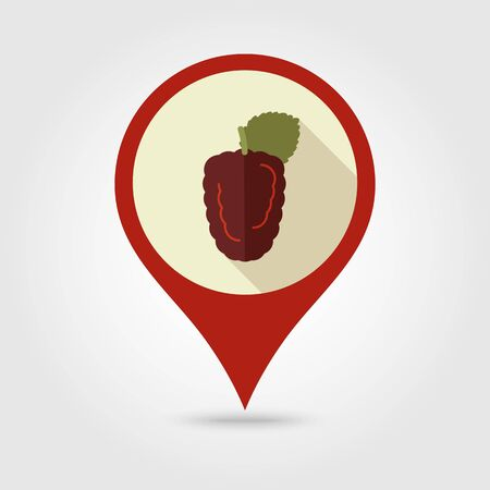 bramble: Blackberry bramble flat vector pin map icon. Map pointer. Map markers. Berry fruit.