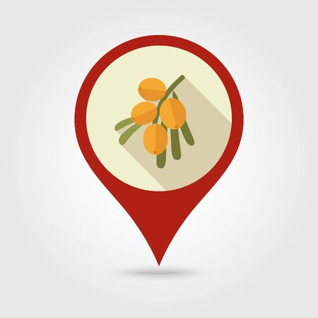 seabuckthorn: Branch of sea-buckthorn berries flat vector pin map icon. Map pointer. Map markers. Berry fruit.