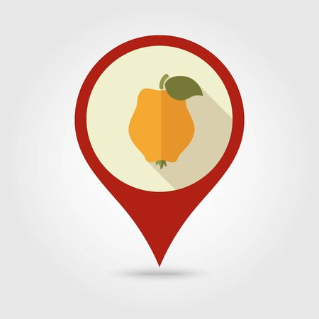 quince: Quince flat vector pin map icon. Map pointer. Map markers. Tropical fruit.
