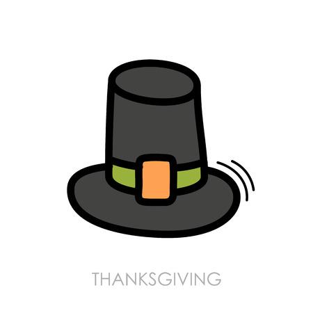 pilgrim hat: Pilgrim hat icon, Harvest. Thanksgiving vector