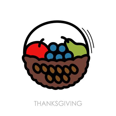 hamper: Fruit Basket icon, Harvest. Thanksgiving