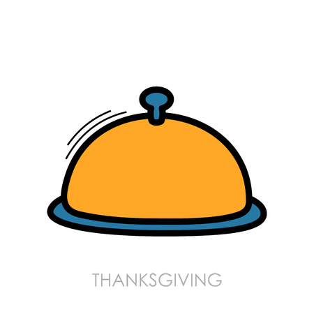 dinnertime: Food tray icon. Harvest. Thanksgiving Illustration