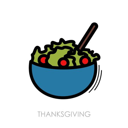 Salad bowl icon. Harvest. Thanksgiving Illustration